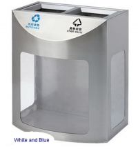 AM-178-2:ถังขยะสแตนเลสแยกประเภทใส 2 ช่อง 