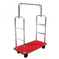 AA-30 : รถเข็นกระเป๋าสแตนเลสพรมแดง-16 Stainless Luggage Cart with red carpet -16